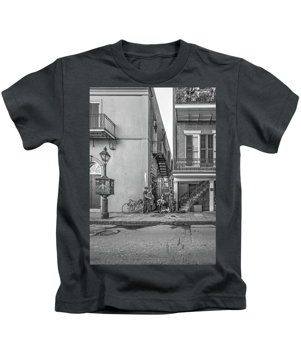 French Quarter Kids T-Shirt featuring the photograph French Quarter Trio Monochrome by Steve Harrington