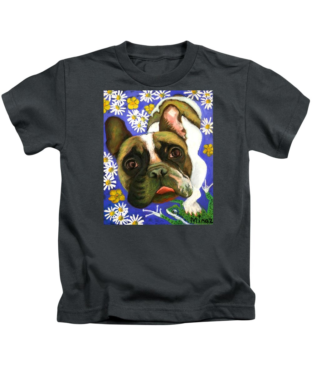 Pet Portrait Kids T-Shirt featuring the painting Frenchie Plays with Frogs by Minaz Jantz