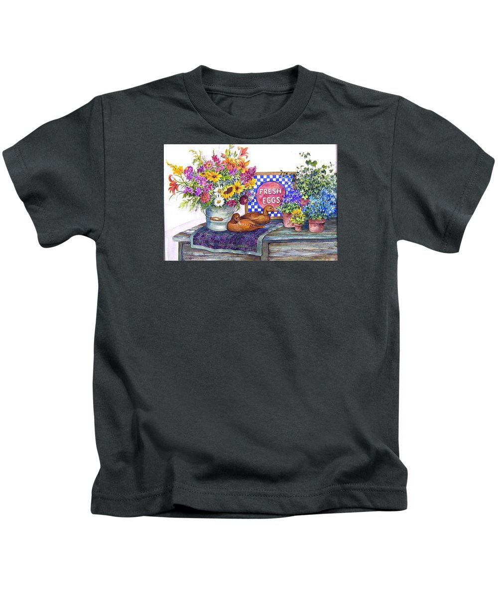 Watercolor;ducks;decoys;floral;mixed Bouquet;potted Plants;checkerboard;quilt; Kids T-Shirt featuring the painting Fresh Eggs by Lois Mountz