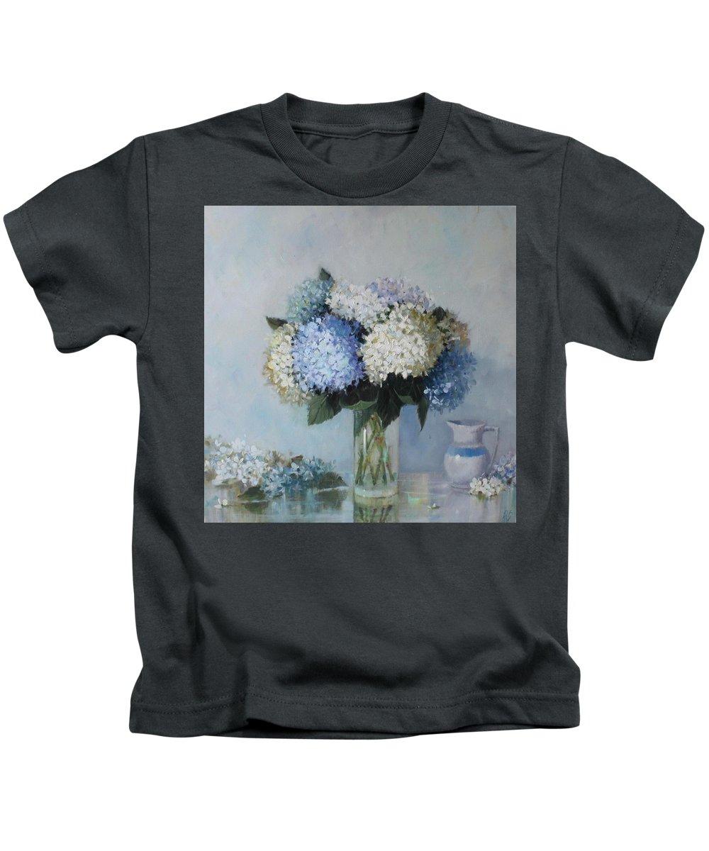 Hydrangea Kids T-Shirt featuring the painting Fresh Summer Hydrangea 2 by Hope Reis