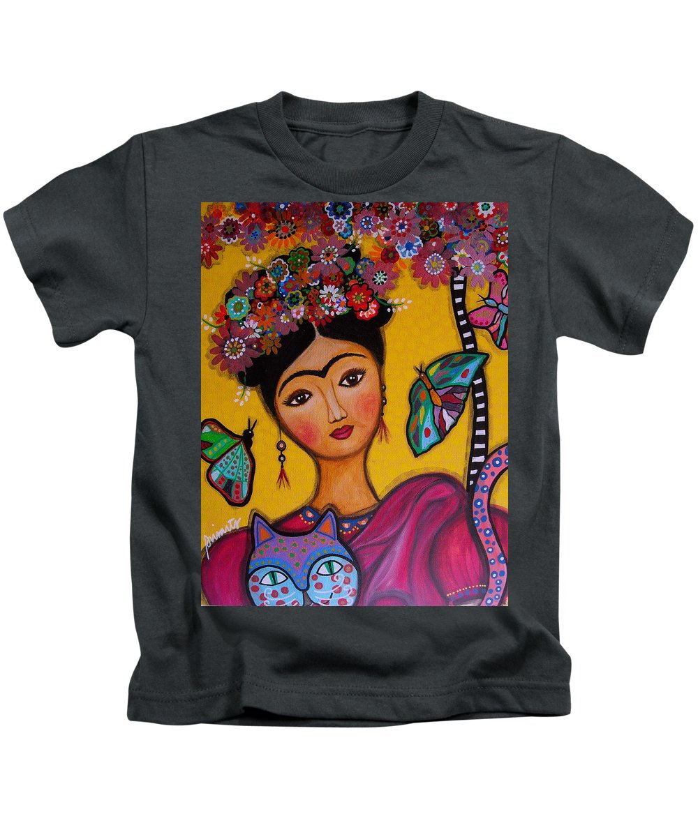 Flower Kids T-Shirt featuring the painting Frida Kahlo by Pristine Cartera Turkus
