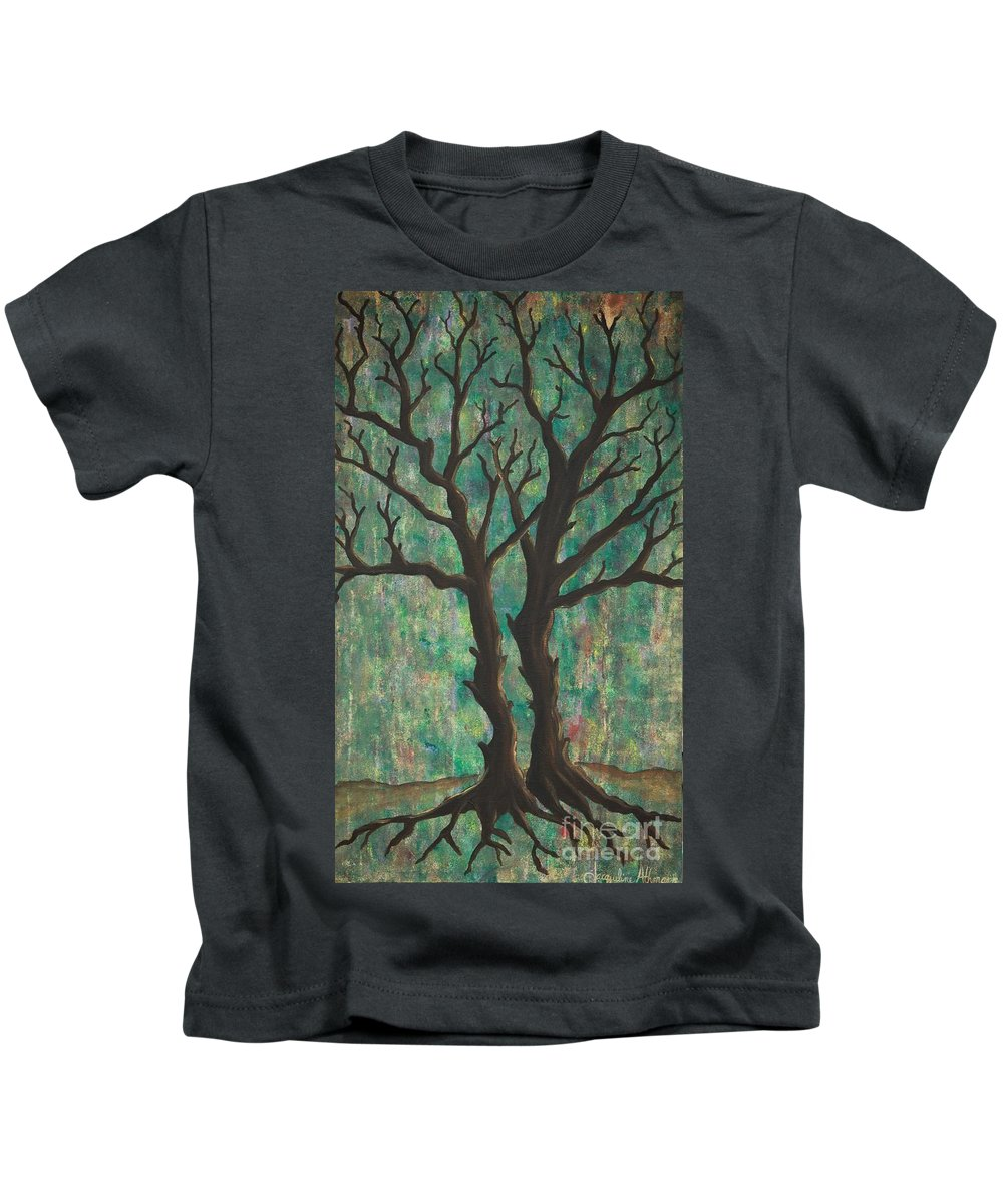 Trees Kids T-Shirt featuring the painting Friends by Jacqueline Athmann