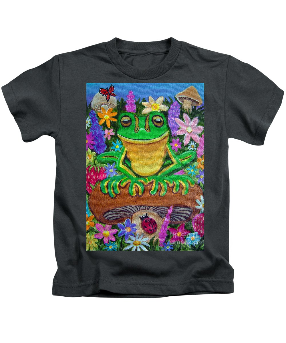 Frog Artwork Frog Painting Whimsical Artwork Green Frogs Kids T-Shirt featuring the painting Frog On Mushroom by Nick Gustafson