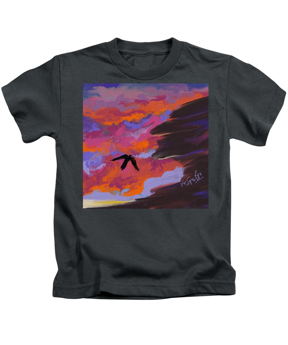 Landscape Kids T-Shirt featuring the digital art From Shadows by Vivi Sojorhn