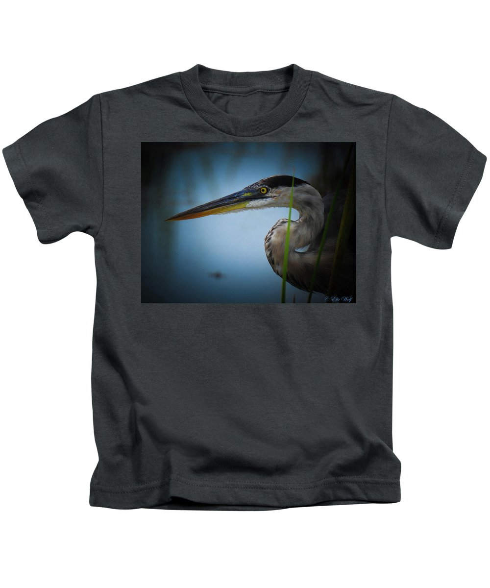 Great Blue Heron Kids T-Shirt featuring the photograph From The Series Great Blue Number 6 by Elie Wolf
