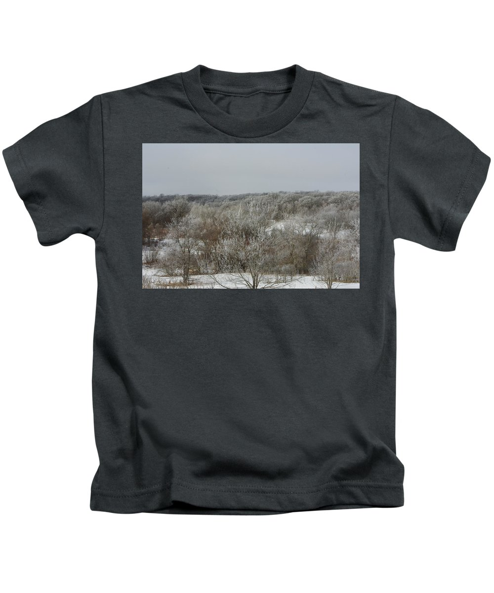 Frost Kids T-Shirt featuring the photograph Frost On The Trees by Alice Markham