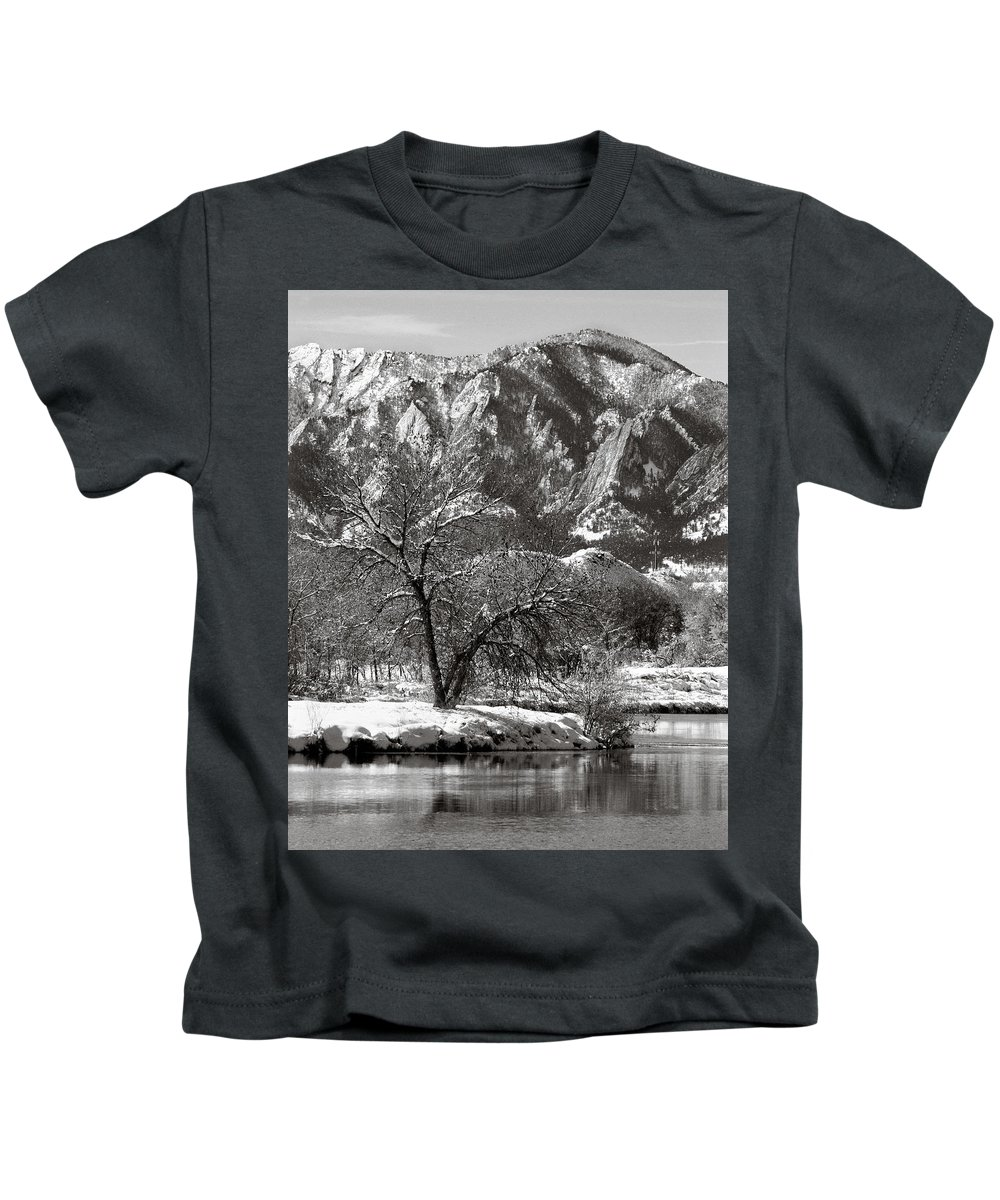 Colorado Kids T-Shirt featuring the photograph Frosty Flatirons 2 by Marilyn Hunt