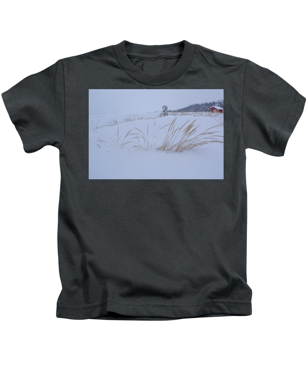 Lake Huron Canada Beach Winter Grass Snow Red Barn Kids T-Shirt featuring the photograph Winter Beach by The Sangsters