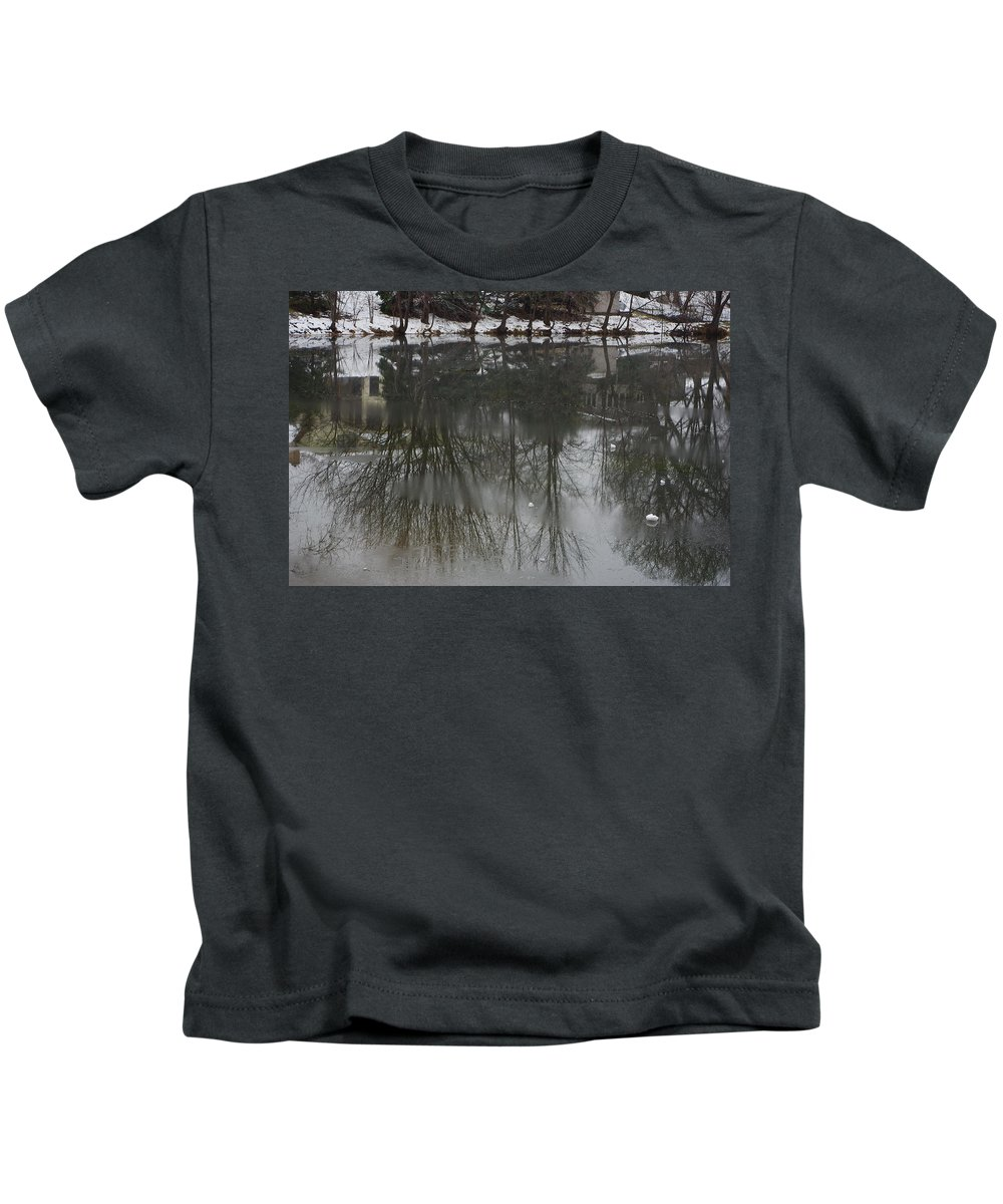 Lake Kids T-Shirt featuring the photograph Frozen Lake Reflection by Alice Markham
