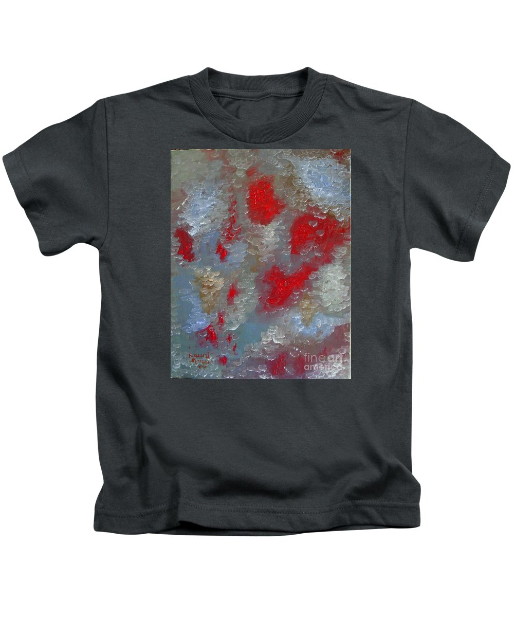 Abstract Kids T-Shirt featuring the painting Frozen Street by Laurie Morgan
