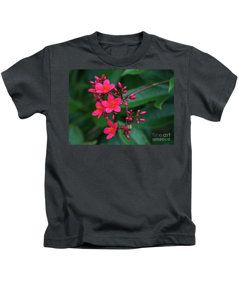 Jatropha Kids T-Shirt featuring the photograph Jatrohpa Bush Blooms by Edie Ann Mendenhall