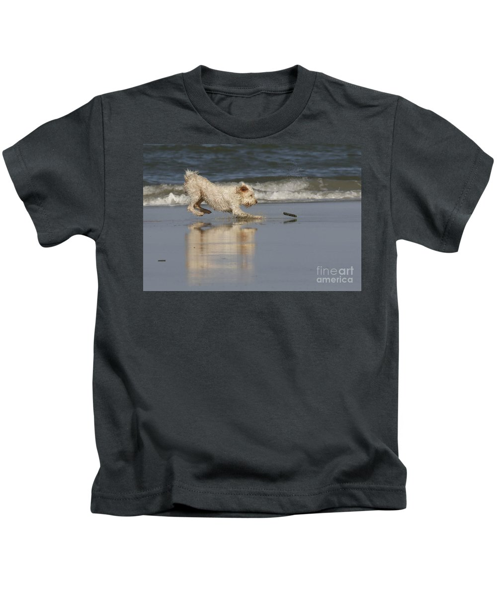 Animals Kids T-Shirt featuring the photograph Fun In The Surf by Myrna Bradshaw