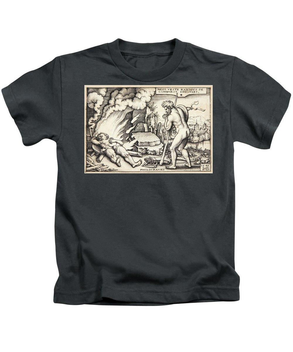 Sebald Beham Kids T-Shirt featuring the drawing Funeral Of Hercules by Sebald Beham