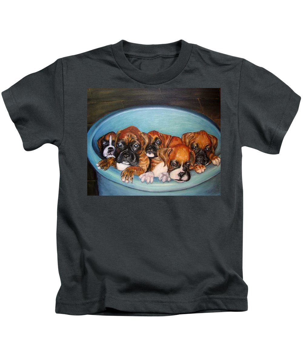 Oil Kids T-Shirt featuring the painting Funny Puppies orginal oil painting by Natalja Picugina