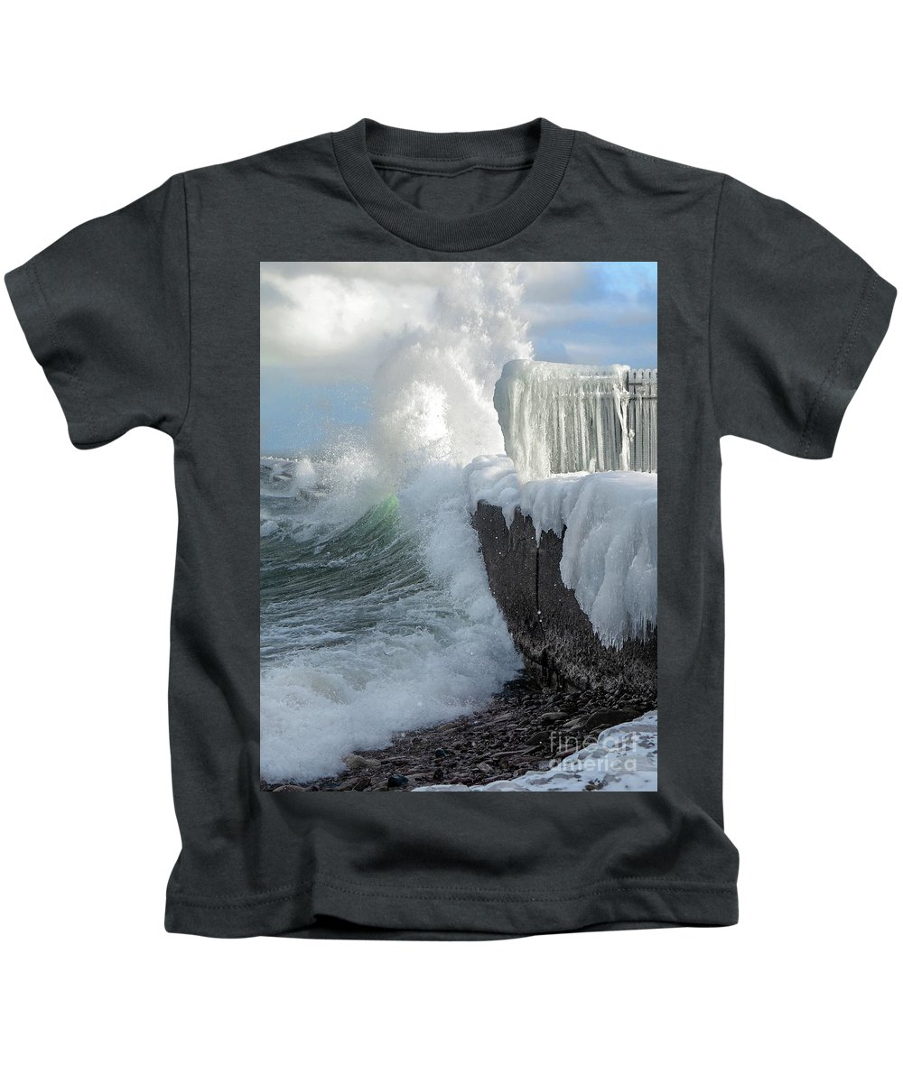Lighthouse Kids T-Shirt featuring the photograph Fury by Upper Peninsula Photography