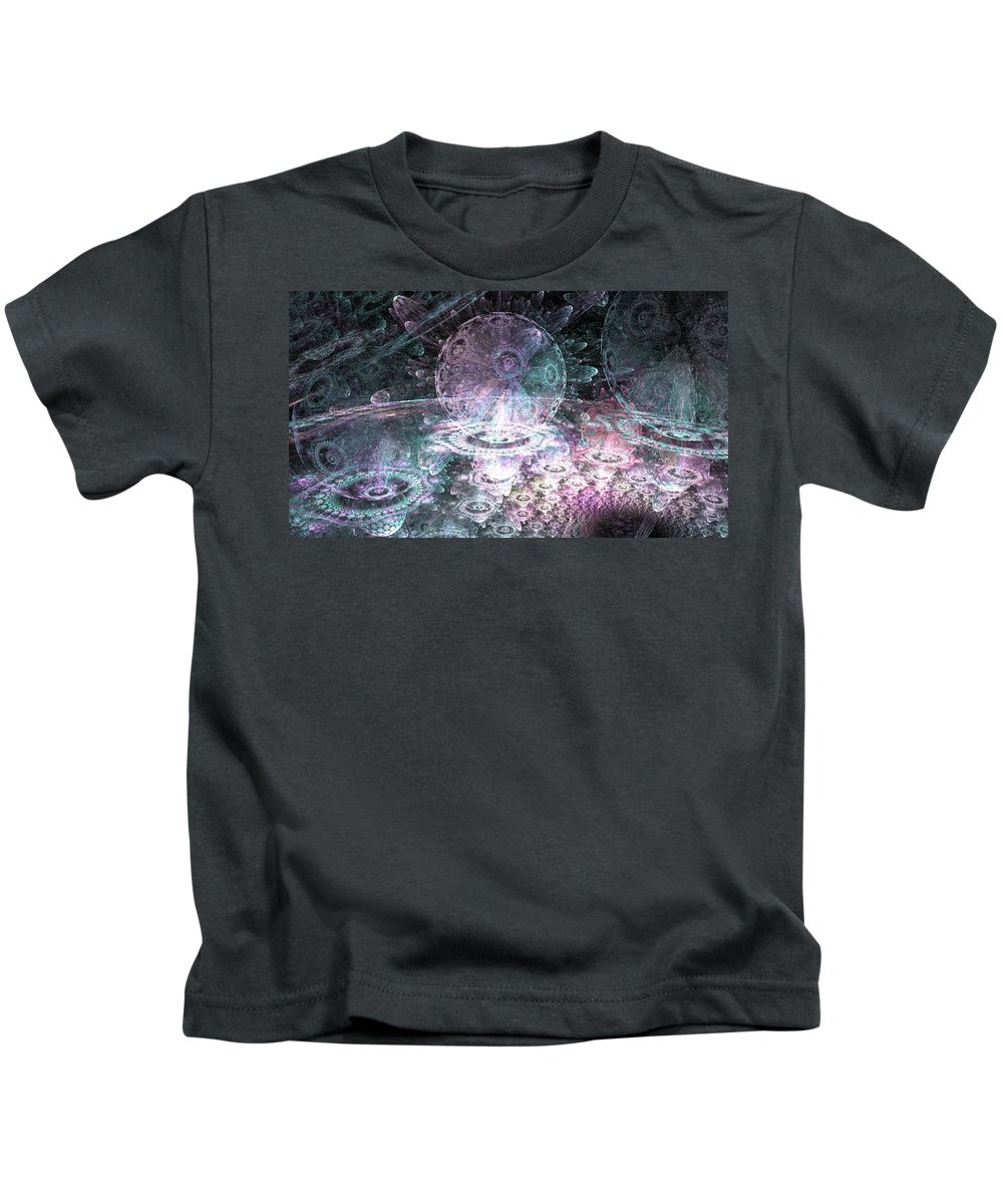 Fractals Kids T-Shirt featuring the digital art Galactic Nights by Brad Stefanov