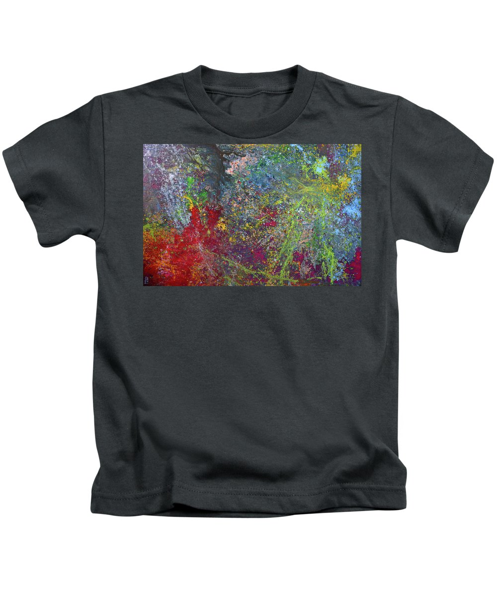 Abstract Art Kids T-Shirt featuring the painting Galactic Spring_by Aatmica by Aatmica Ojha