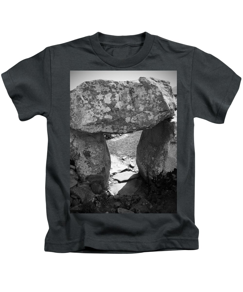 Ireland Kids T-Shirt featuring the photograph Gallery Entrance At Creevykeel Court Cairn Ireland by Teresa Mucha