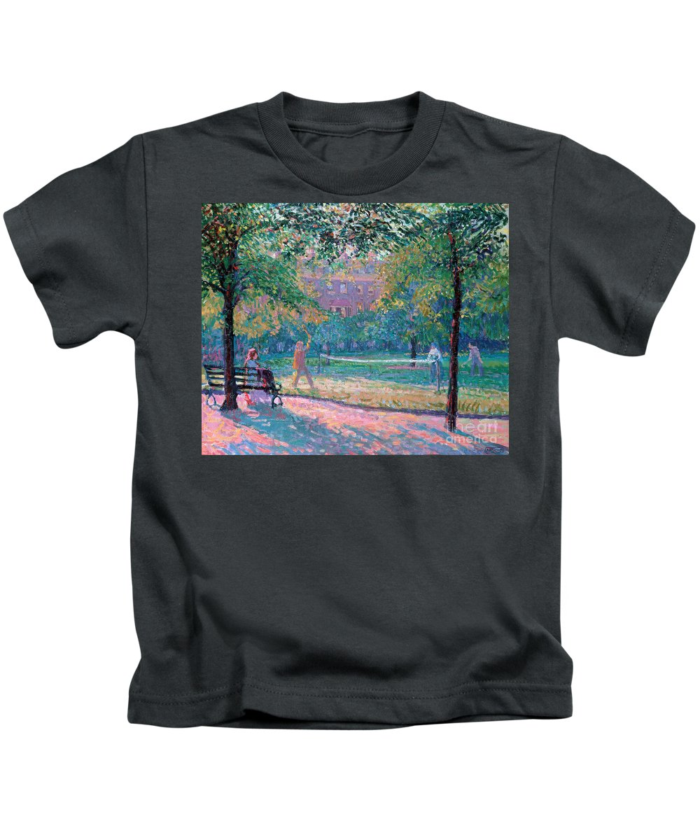 Game Kids T-Shirt featuring the painting Game Of Tennis by Spencer Frederick Gore