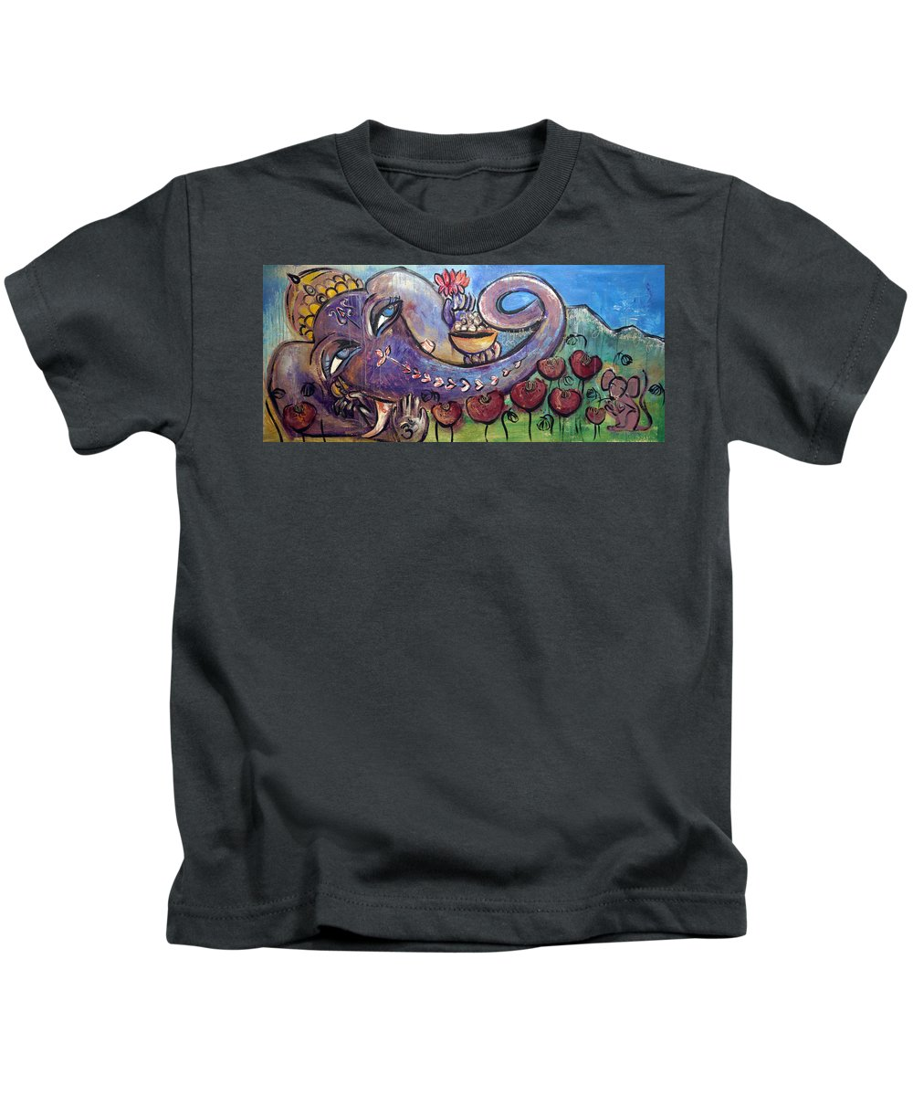 Purple Kids T-Shirt featuring the painting Ganesha With Poppies by Laurie Maves ART