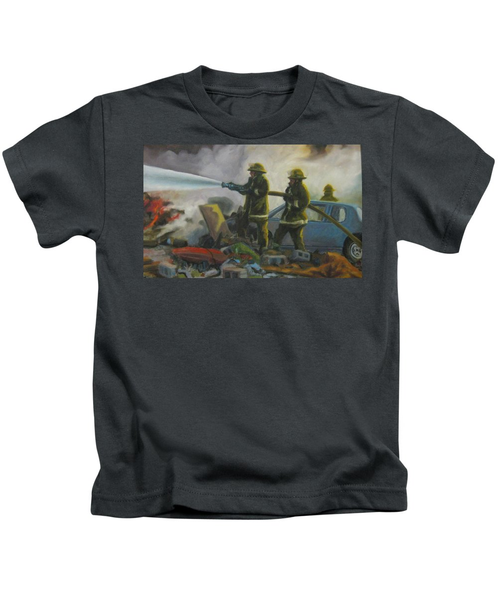 Firefighters Kids T-Shirt featuring the painting Garage Fire by John Malone