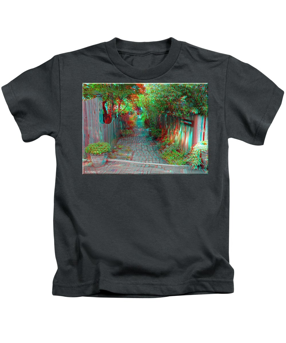 3d Kids T-Shirt featuring the photograph Garden Alley - Use Red-cyan 3d Glasses by Brian Wallace