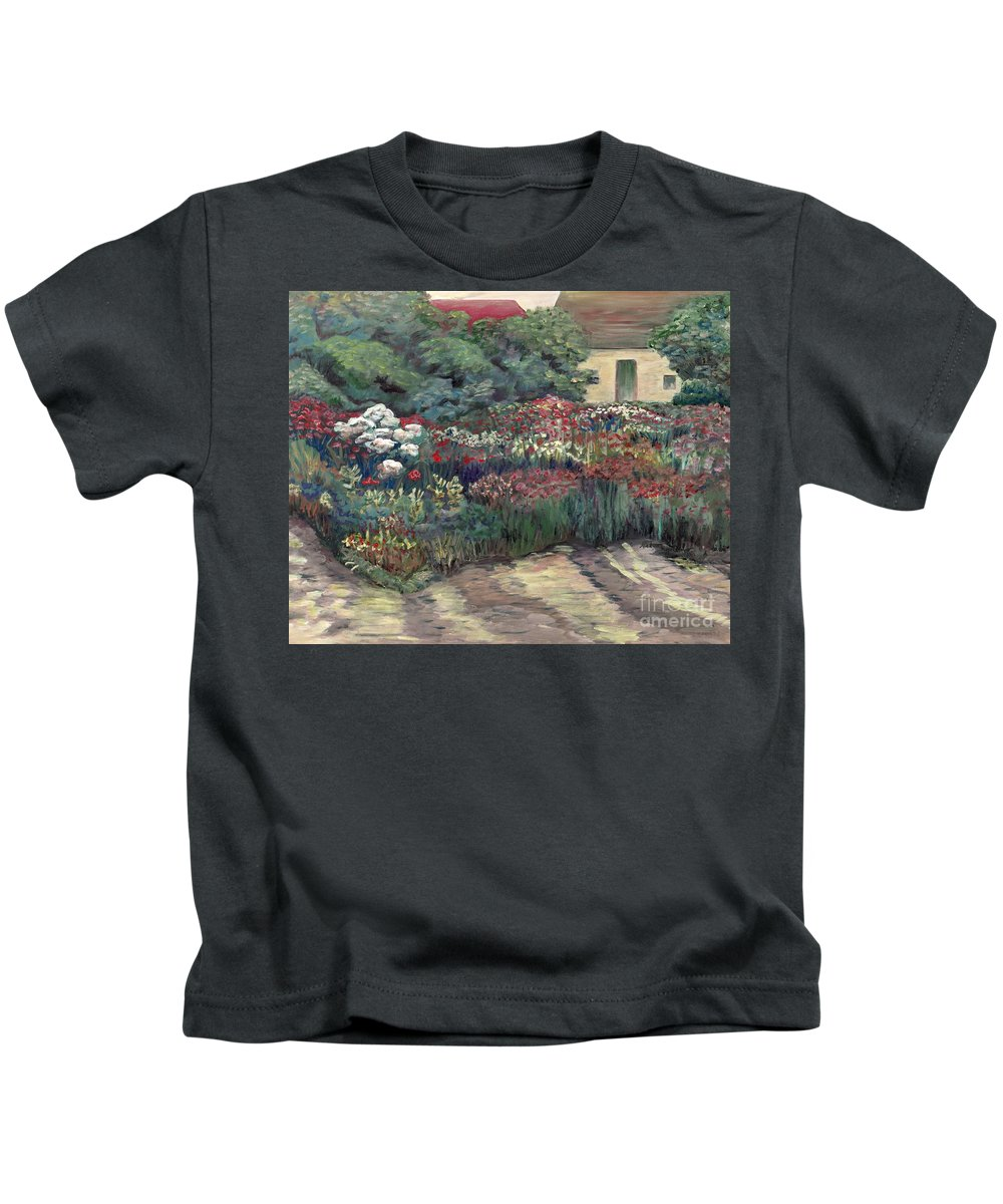 Breck Kids T-Shirt featuring the painting Garden At Giverny by Nadine Rippelmeyer