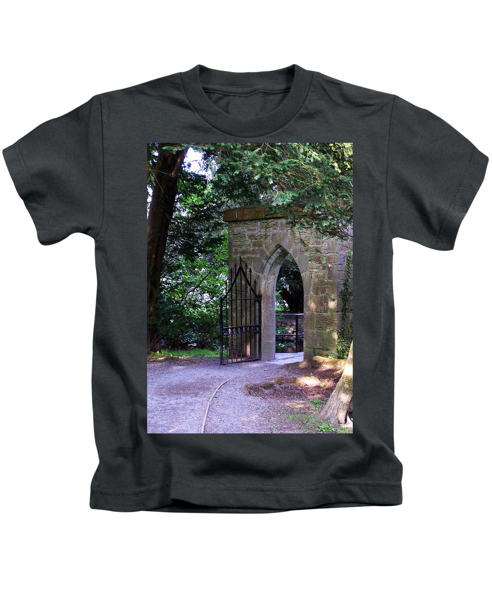 Irish Kids T-Shirt featuring the photograph Gate At Cong Abbey Cong Ireland by Teresa Mucha
