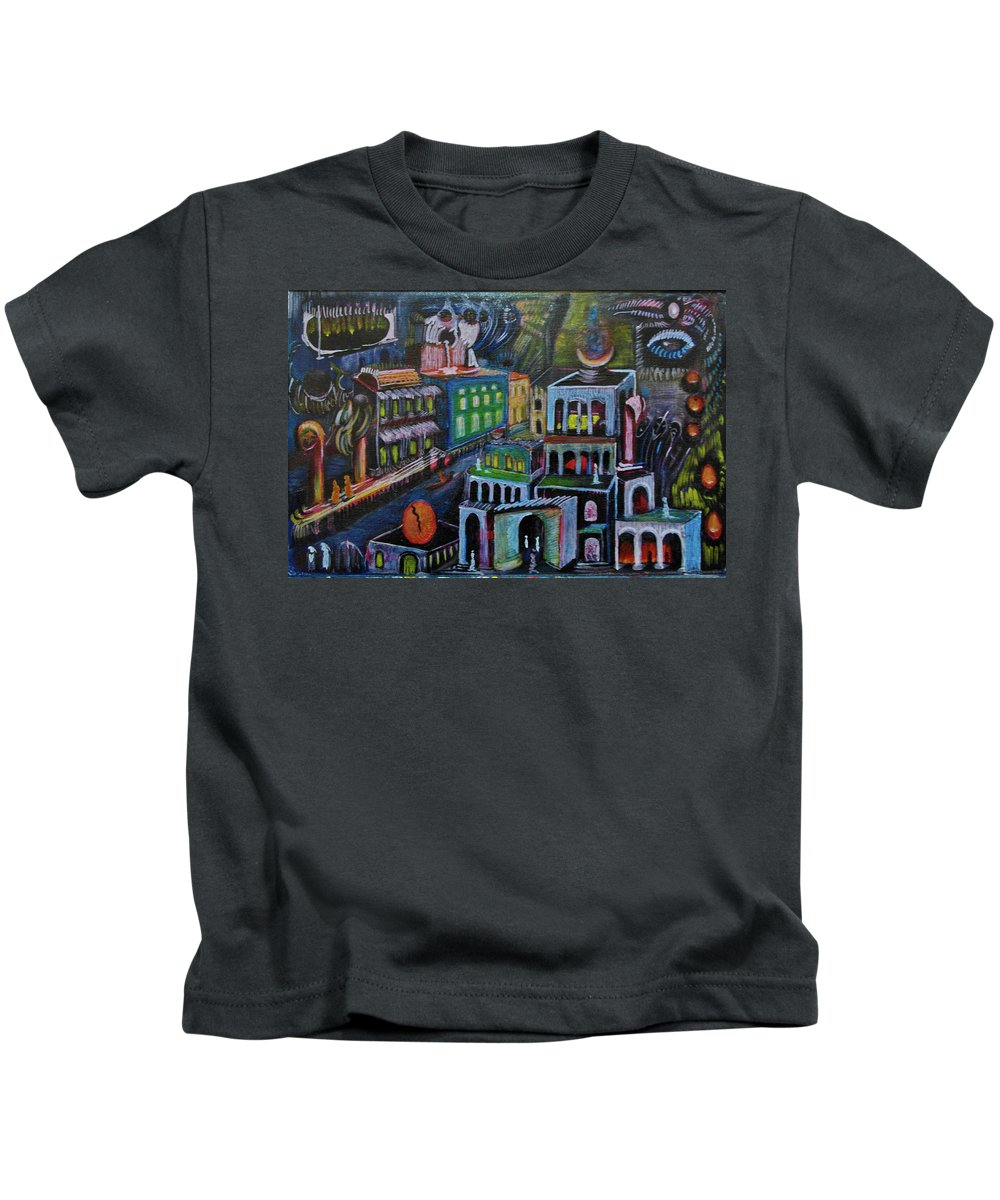 Kids T-Shirt featuring the painting Gathering by Robert Gravelin