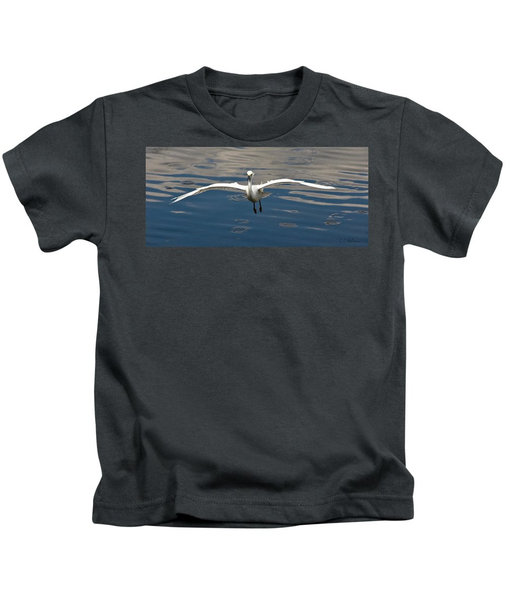 Snowy Egret Kids T-Shirt featuring the photograph Gear Down by Christopher Holmes