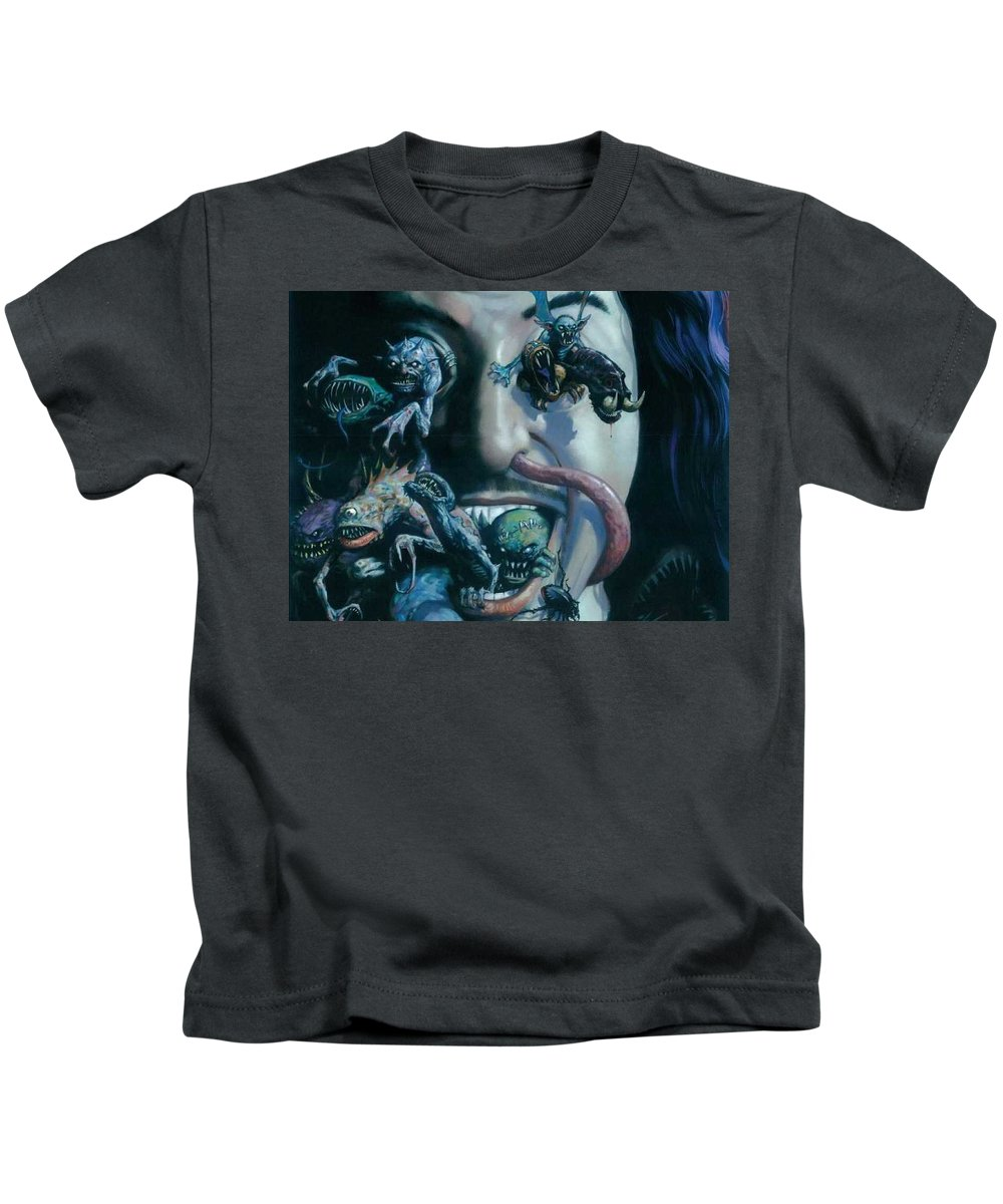 Gene Simmons House Of Horrors Kids T-Shirt featuring the digital art Gene Simmons House Of Horrors by Dorothy Binder