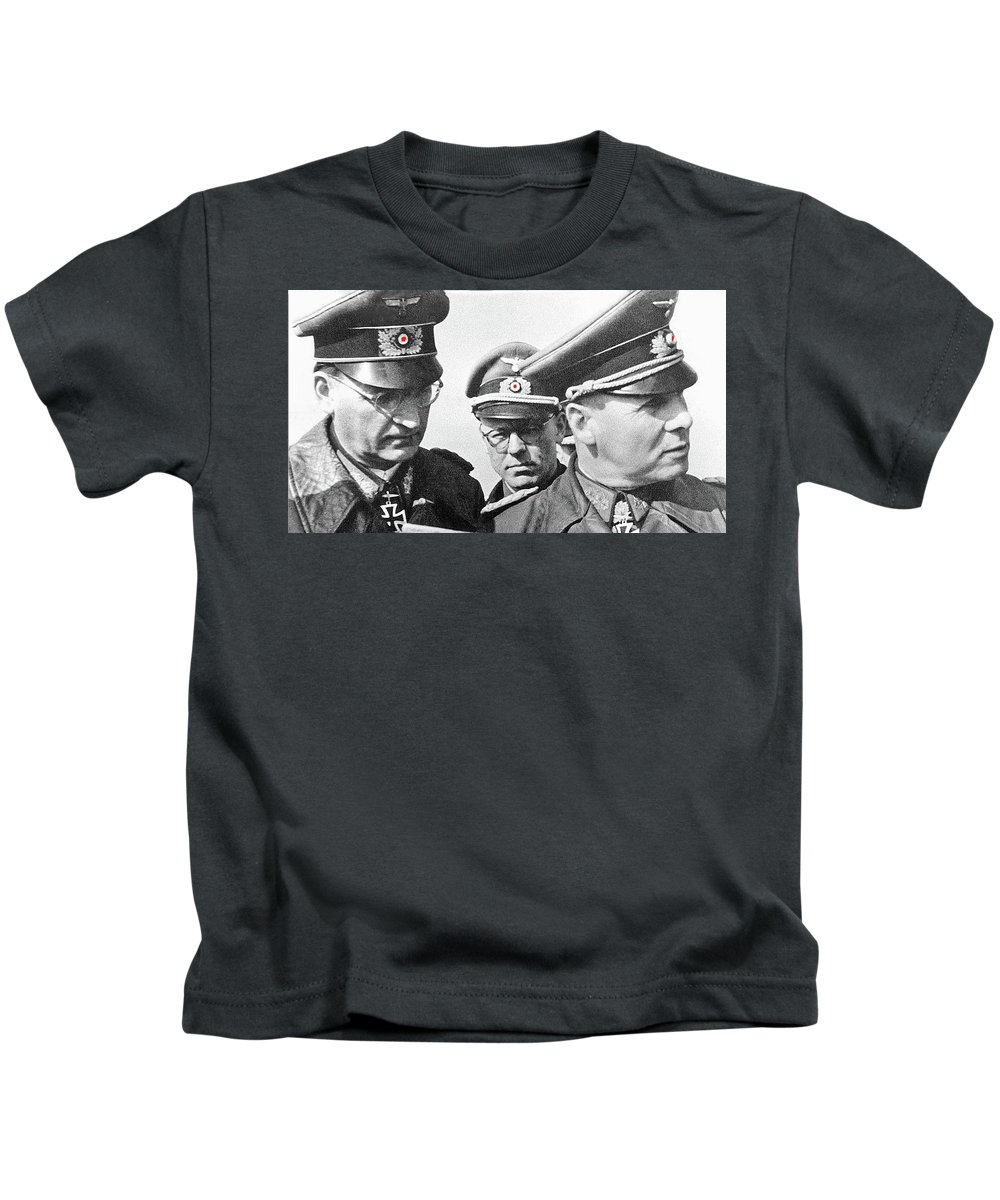 Generalfeldmarschall Erwin Rommel And Staff Number 1 North Africa 1942 Color Added 2016 Kids T-Shirt featuring the photograph Generalfeldmarschall Erwin Rommel And Staff Number 1 North Africa 1942 Color Added 2016 by David Lee Guss