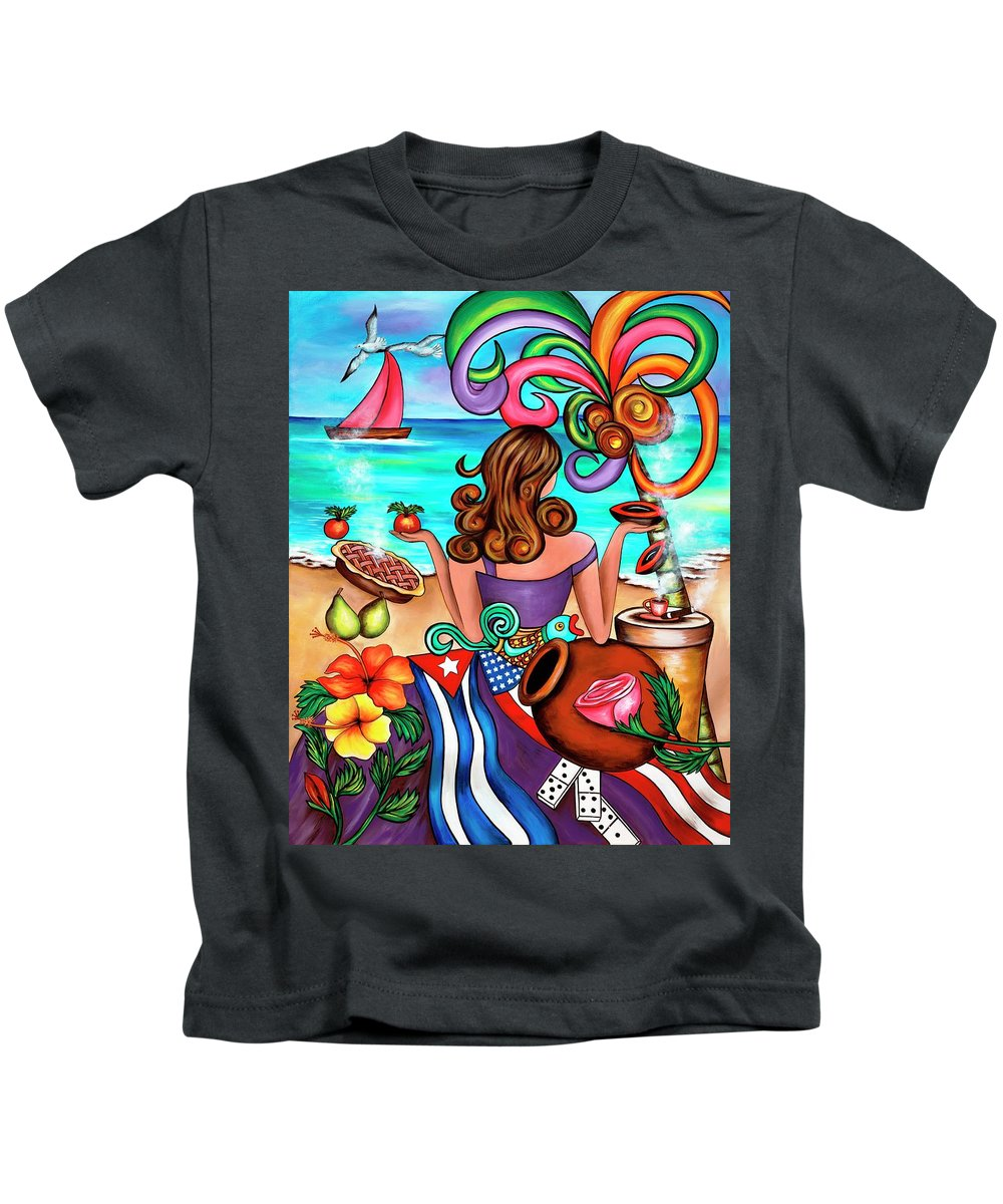 Cuba Kids T-Shirt featuring the painting Generation Spanglish by Annie Maxwell