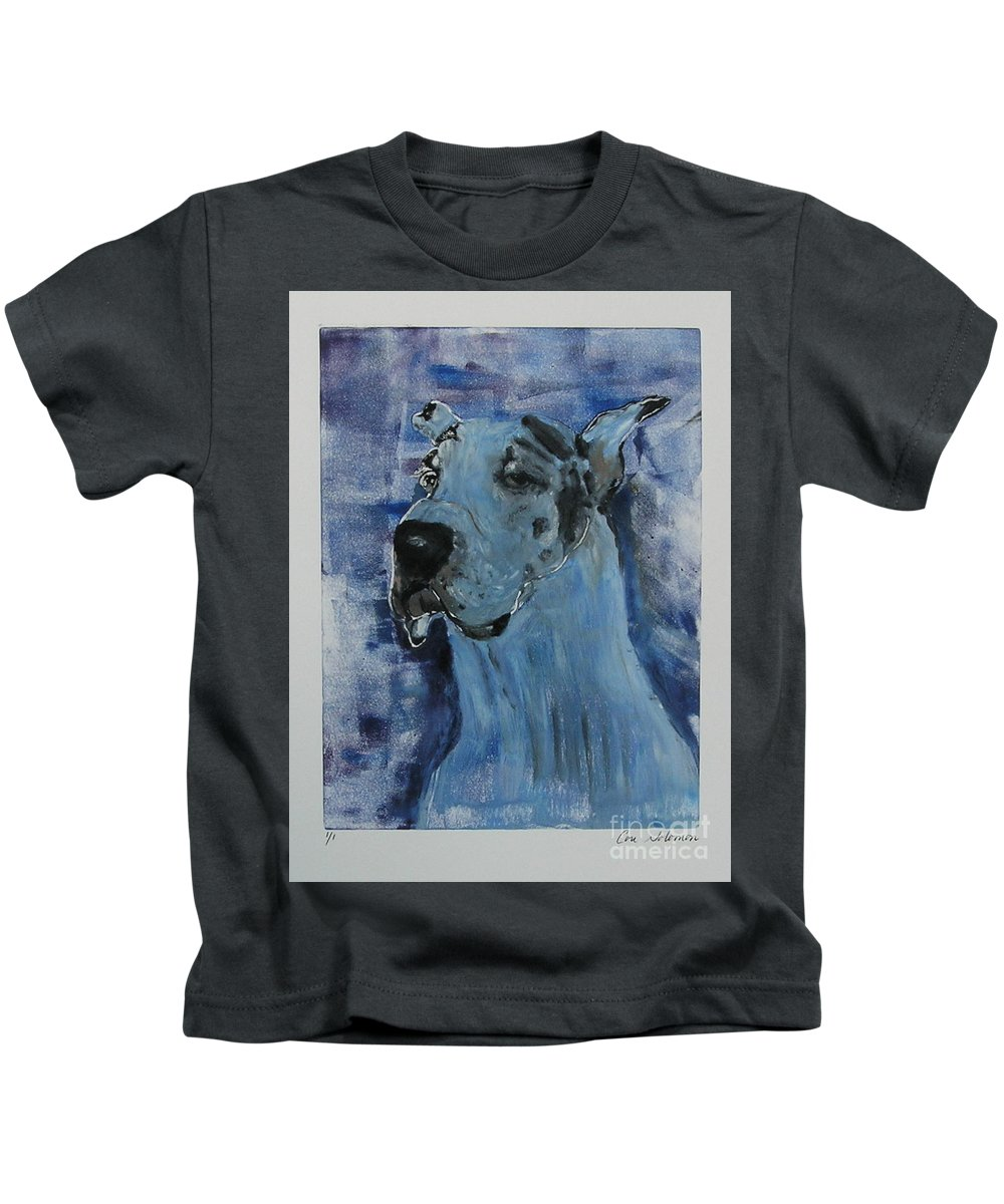 Great Dane Kids T-Shirt featuring the mixed media Gentle Giant by Cori Solomon