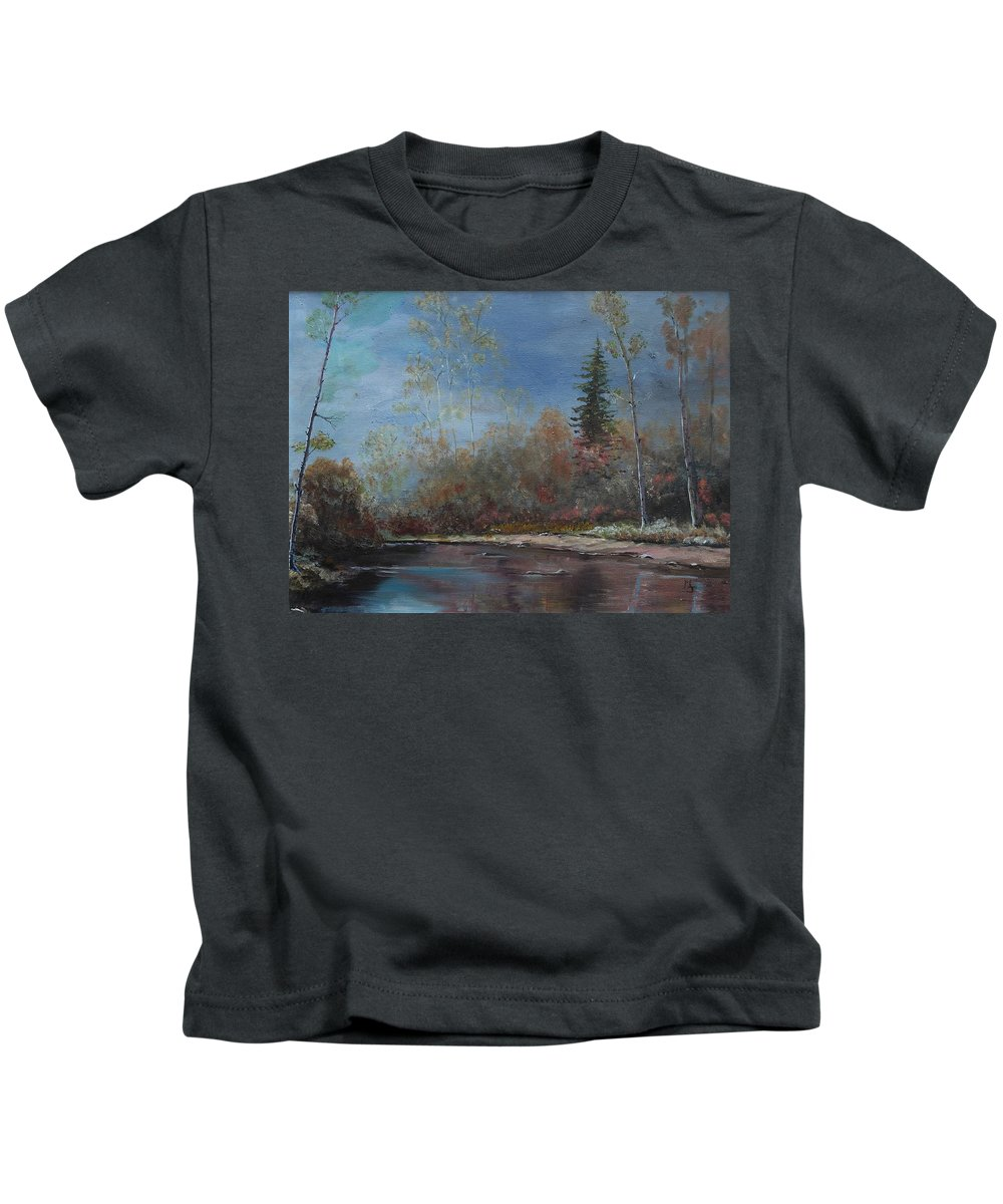 River Kids T-Shirt featuring the painting Gentle Stream - Lmj by Ruth Kamenev
