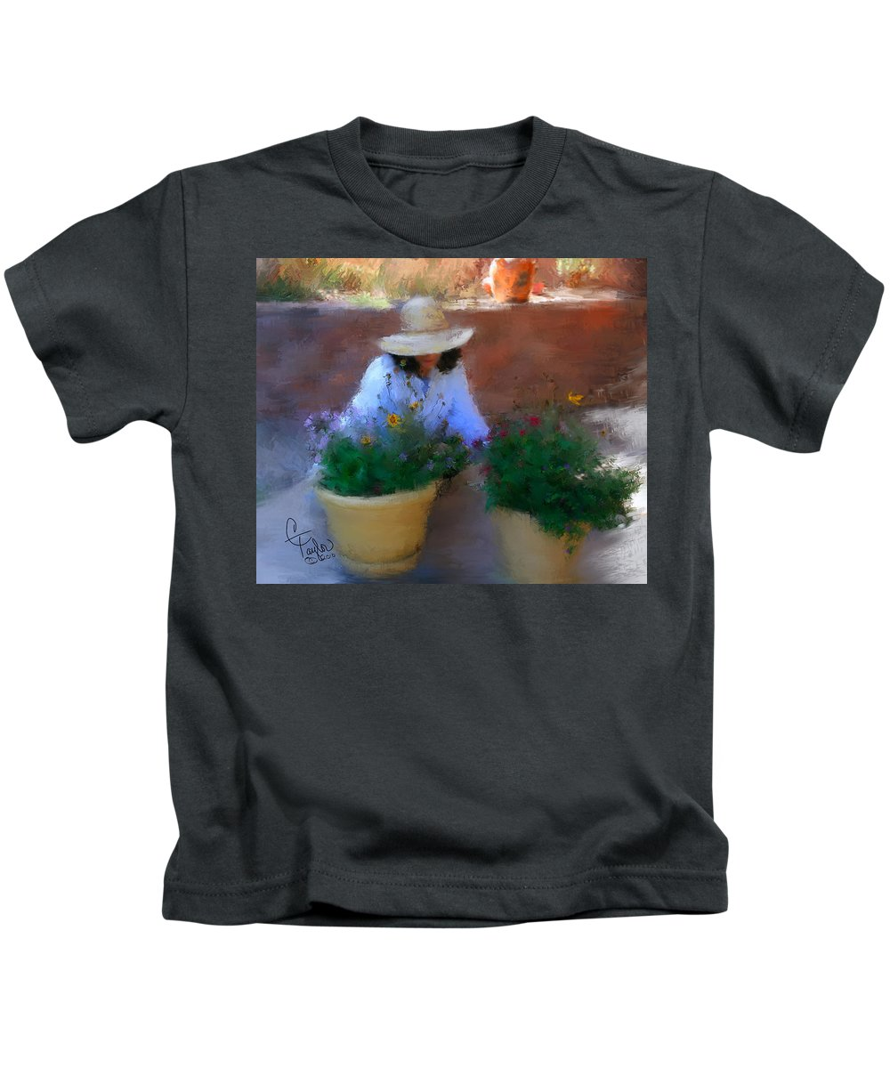 Woman Kids T-Shirt featuring the painting Gently Does It by Colleen Taylor