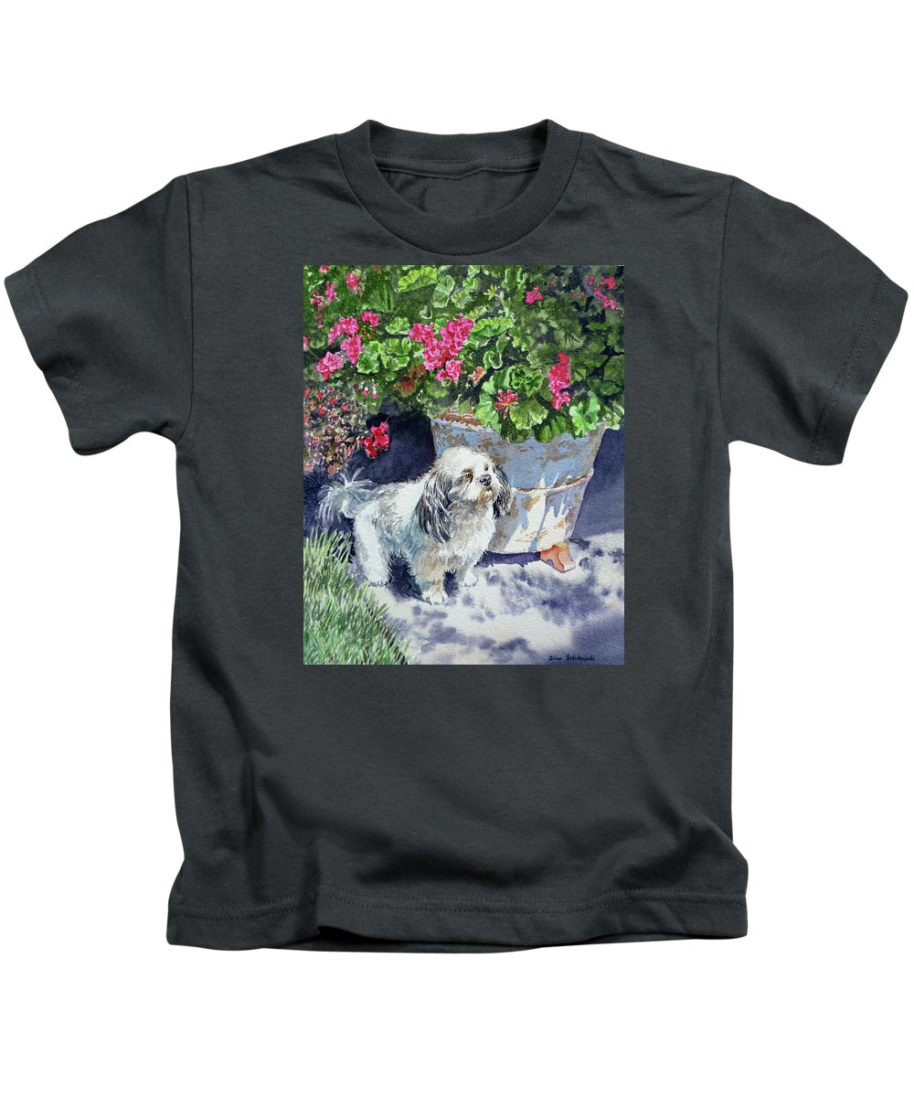 Animal Portrait Kids T-Shirt featuring the painting Georgie by Irina Sztukowski