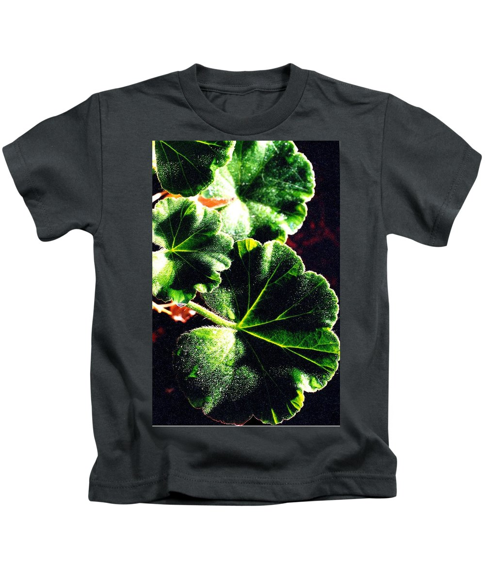 Geraniums Kids T-Shirt featuring the photograph Geranium Leaves by Nancy Mueller