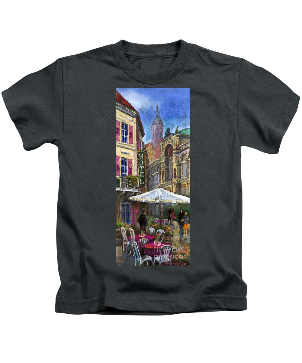 Pastel Kids T-Shirt featuring the painting Germany Baden-baden 07 by Yuriy Shevchuk