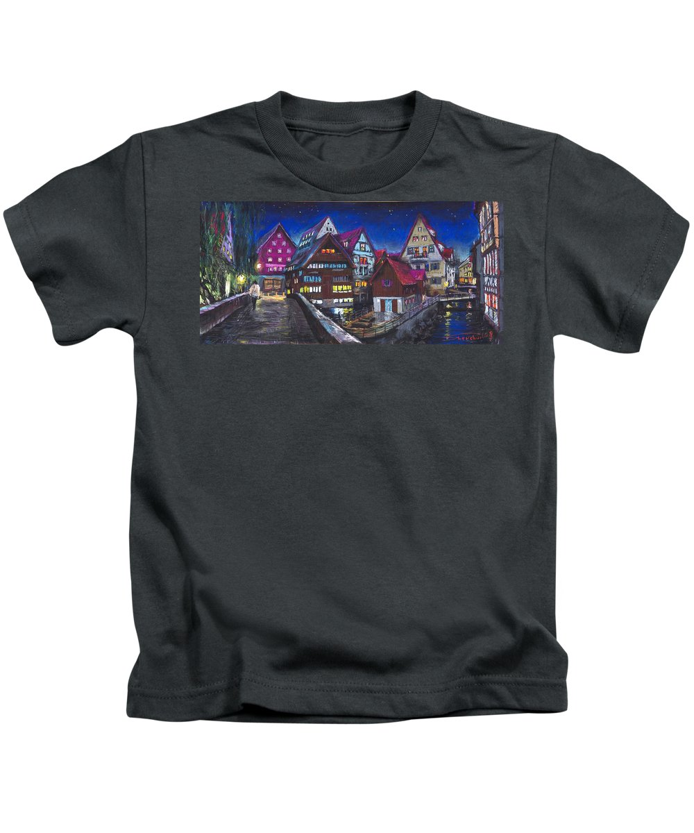 Pastel Kids T-Shirt featuring the painting Germany Ulm Fischer Viertel by Yuriy Shevchuk