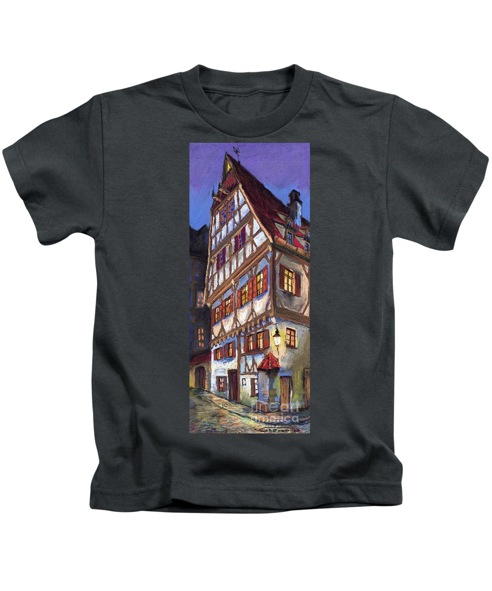Pastel Kids T-Shirt featuring the painting Germany Ulm Old Street by Yuriy Shevchuk