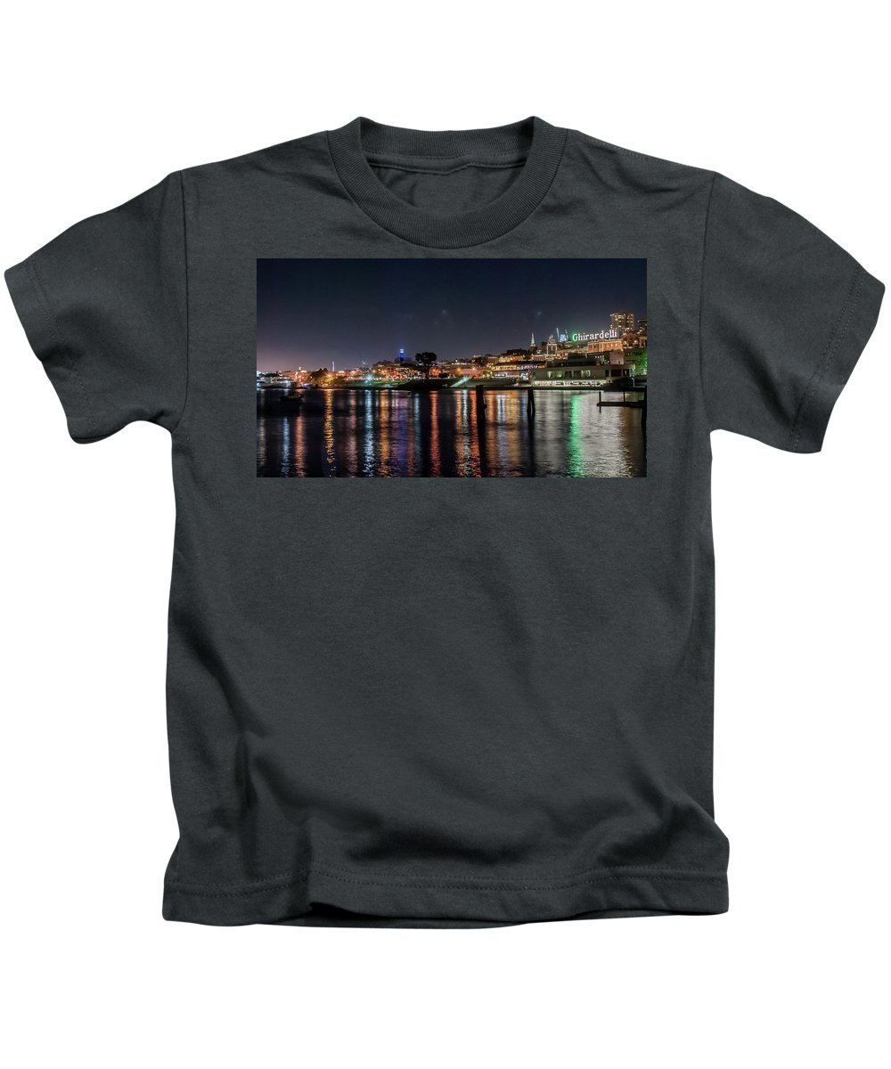 San Francisco Kids T-Shirt featuring the photograph Ghirardelli Square At Night by Andrew Hollen