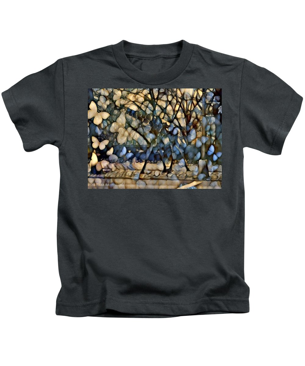 Maggie Vlazny Kids T-Shirt featuring the mixed media Giraffe Montage by Femina Photo Art By Maggie