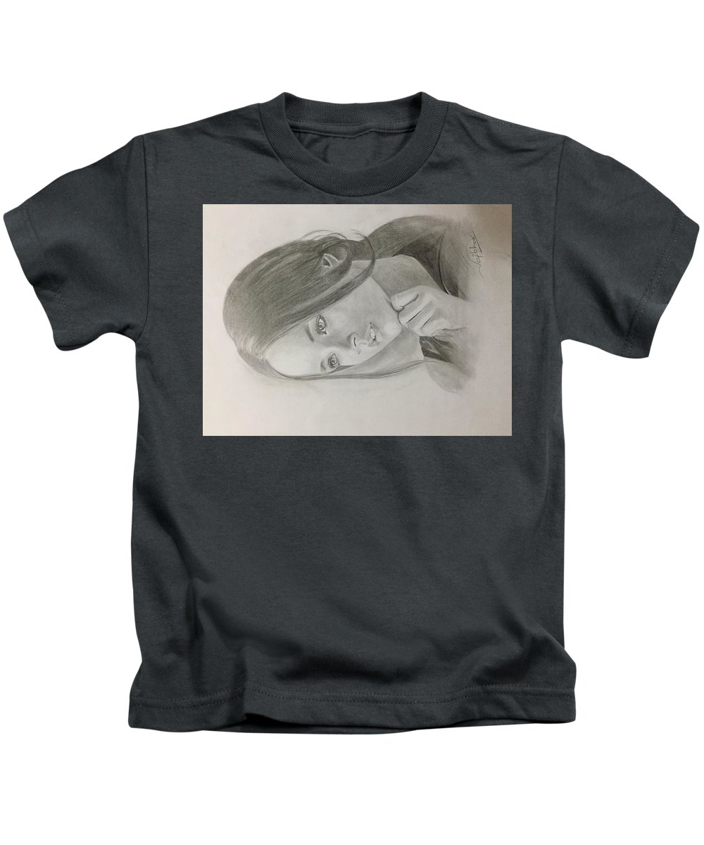 Kids T-Shirt featuring the drawing Girl In Deep Thoughts by Vaibhav singh Sengar