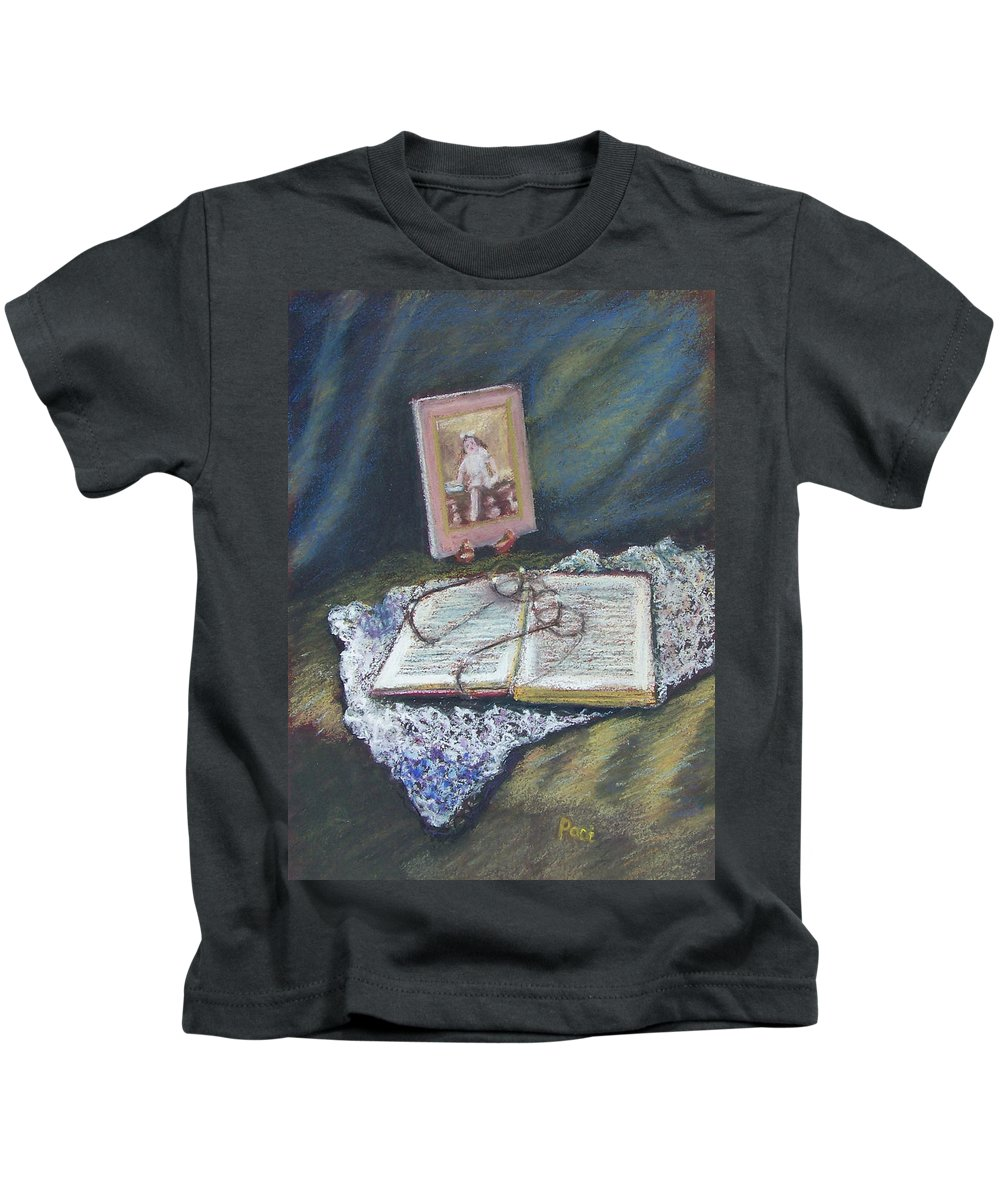 Still Life Kids T-Shirt featuring the painting Girl With A Book by Laurie Paci