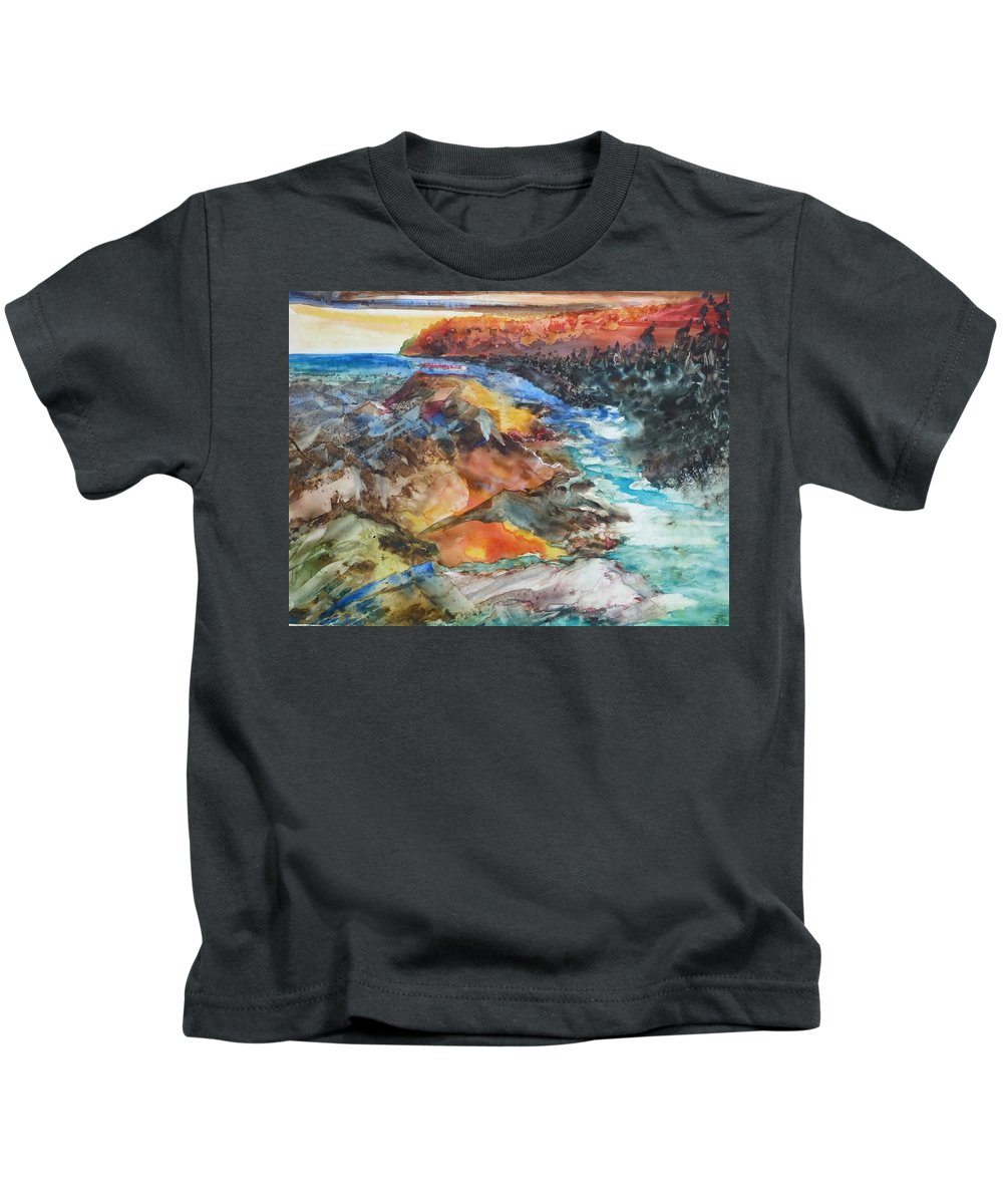 Abstract Kids T-Shirt featuring the painting Glacial Meltdown by Ruth Kamenev