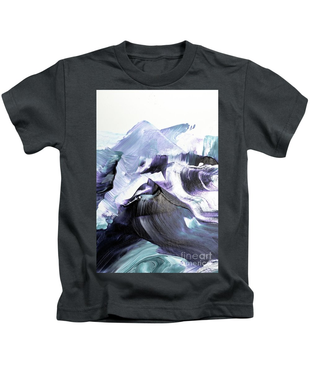 Abstract Kids T-Shirt featuring the painting Glacier Mountains by PrintsProject