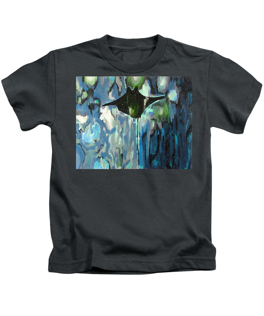 Stingray Kids T-Shirt featuring the painting Gliding Stingray by Heather Lennox