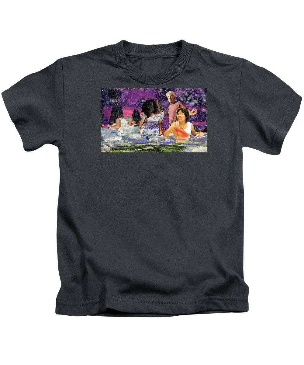 Landscape Kids T-Shirt featuring the digital art Global Dreaming by Dave Martsolf
