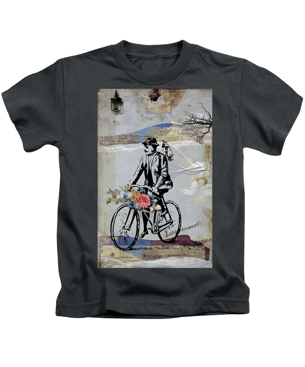 Abstract Landscape Kids T-Shirt featuring the digital art Gloomy Sunday by Aniko Hencz